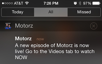 Motorz App Notification