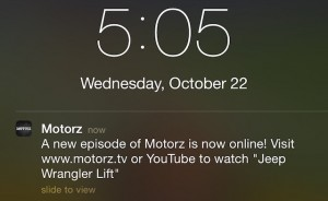 Motorz Mobile App Notification iOS8